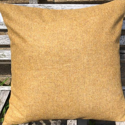 Mustard herringbone tweed cushion cover