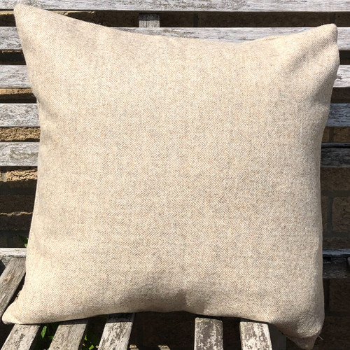 Herringbone Pebble pure 100% wool tweed cushion cover