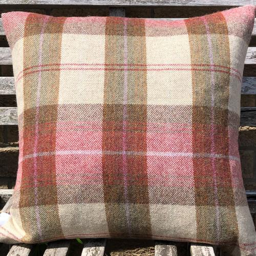 Langley plaid 100% wool cushion