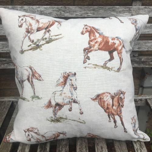 Vintage Horses printed cotton cushion