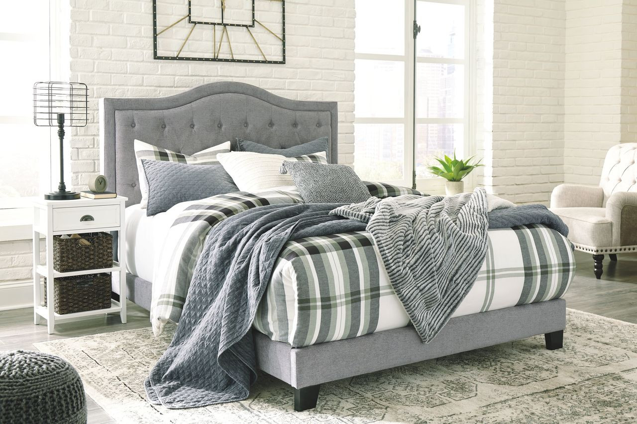 The Jerary Gray Queen Upholstered Bed Available At Nashco Furniture And Mattress Serving Nashville Tn