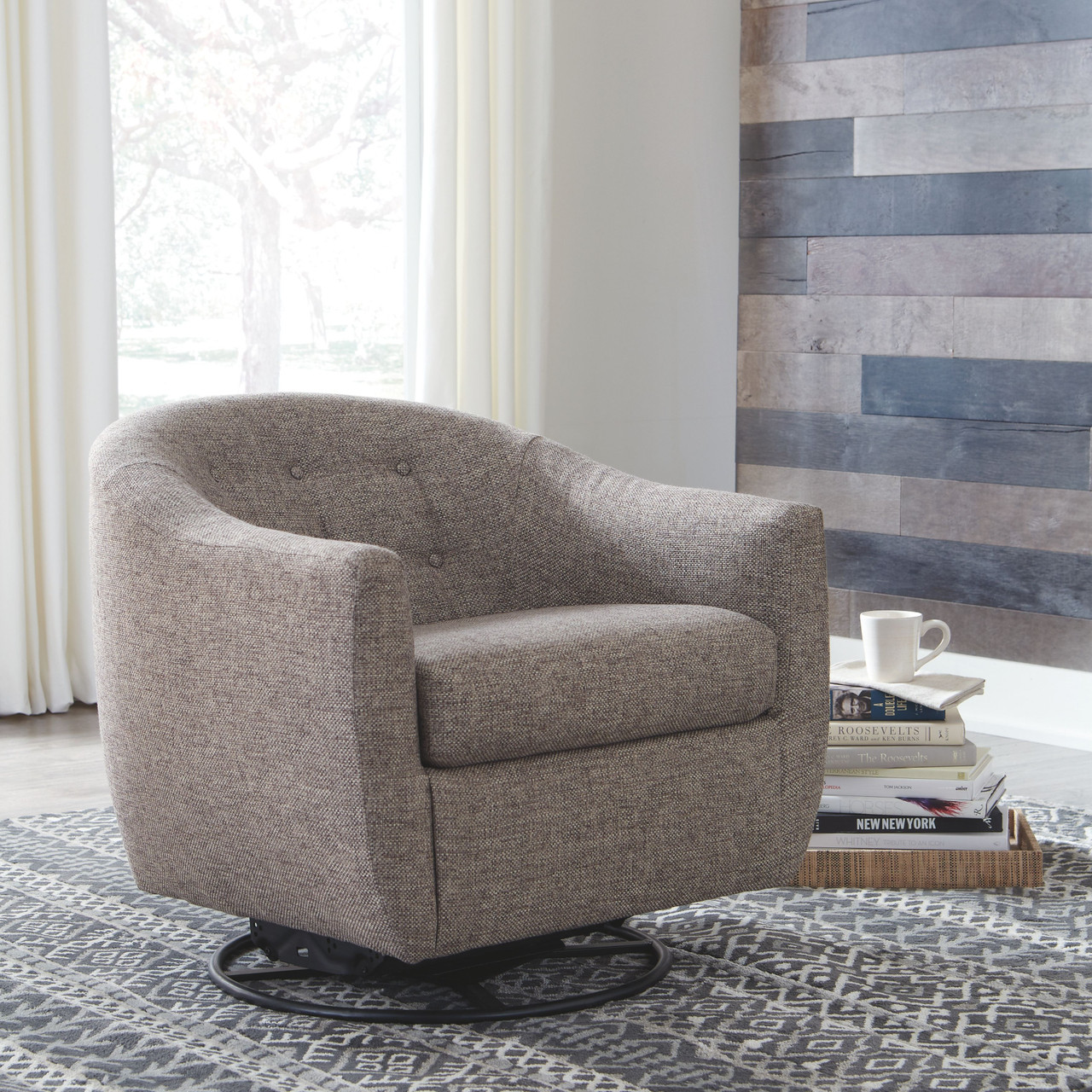 Enjoyable Upshur Taupe Swivel Glider Accent Chair Dailytribune Chair Design For Home Dailytribuneorg