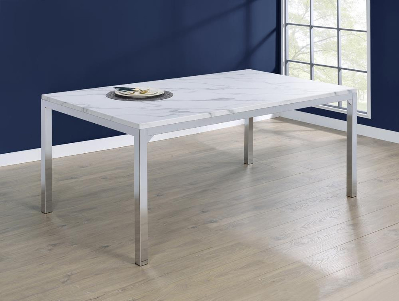 The Athena Rectangle Dining Table With Marble Top Chrome 110101 Available At Nashco Furniture And Mattress Serving Nashville Tn