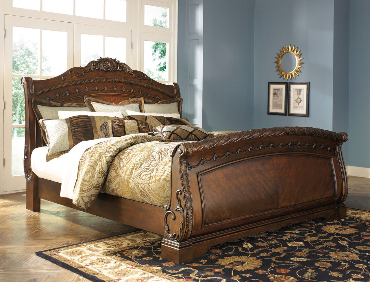 The North Shore Dark Brown Queen Sleigh Bed Available At Nashco Furniture And Mattress Serving Nashville Tn