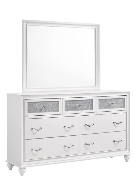 The Barzini Collection Barzini Rectangle Dresser Mirror White 205894 Available At Nashco Furniture And Mattress Serving Nashville Tn