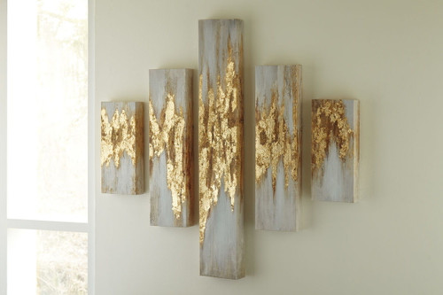 The Devlan Gold Finishwhite Wall Art Set 5cn Available At Nashco