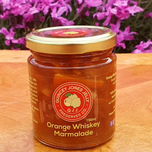 Quincey Jones Jelly presents it's artisan, traditional, orange marmalade with a splash of a single malt whiskey, fantastic on toast or bread!