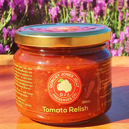 Tomato Relish 300ml - Artisan traditional Tomato Relish made with local grown and freshly picked tomatoes. A must for Eggs on Toast, Steak Sandwiches, Cheese Melts and Tasting Platters.