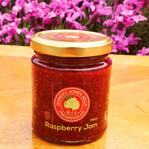 Raspberry Jam - A wonder of simplicity and perfection. Winner of two First Prizes at The Bendigo Agricultural Show and Highly Commended at The Royal Melbourne Show.  Regular, 190ml.