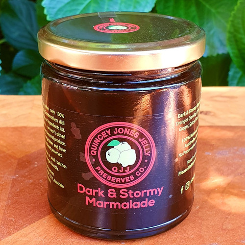 Dark & Stormy Marmalade! A bold adventurous marmalade with ginger, dark sugar and spiced rum! The stout beer of marmalades! One taste and your away!