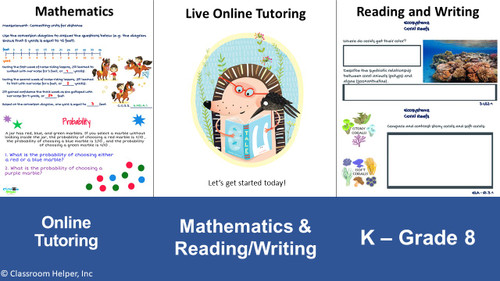 Register today for online tutoring. Kindergarten through Grade 8 in mathematics and reading/writing.