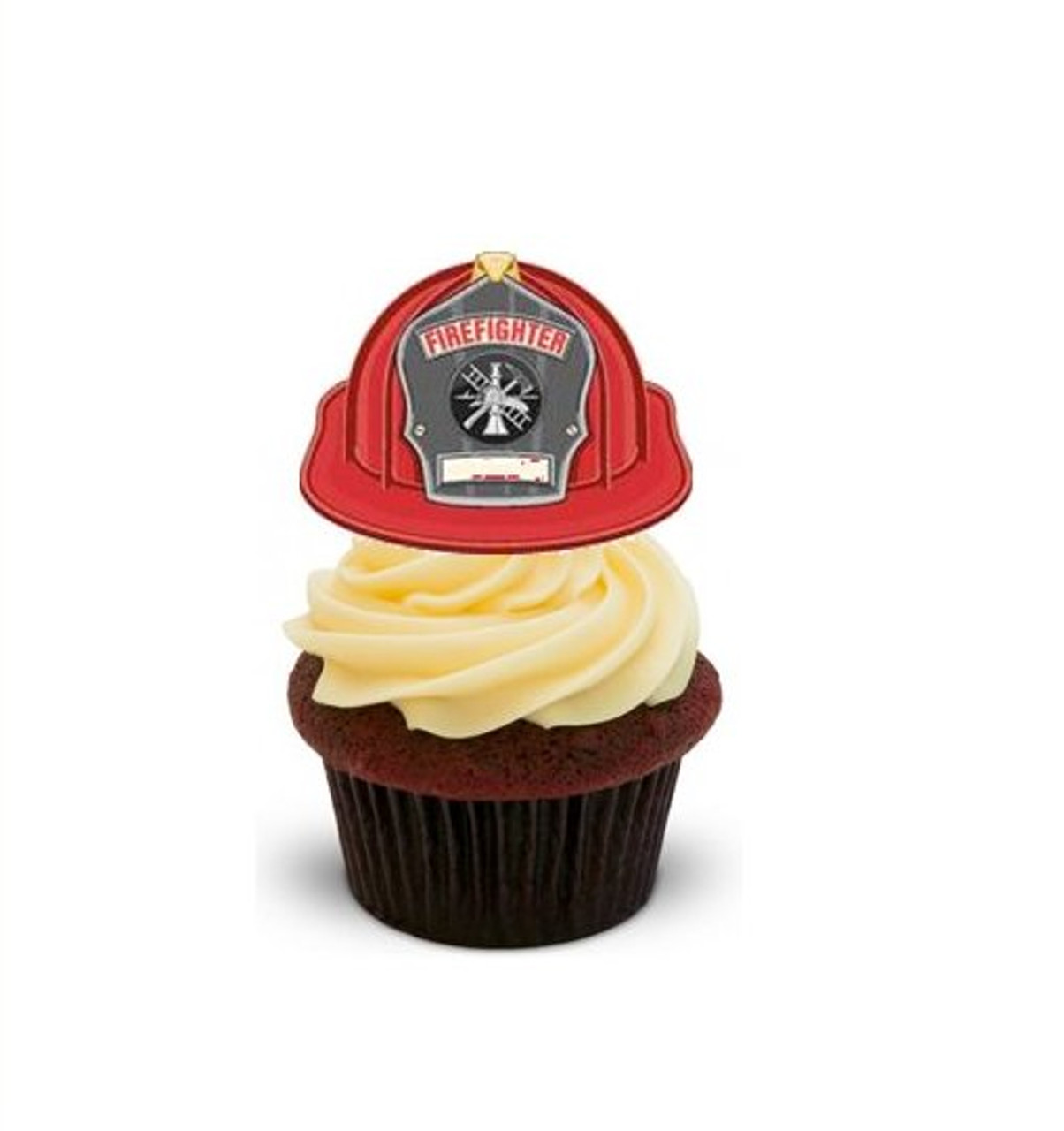 12 FIRE TRUCKS Edible Icing Image Birthday Cupcake Decoration Cake Toppers
