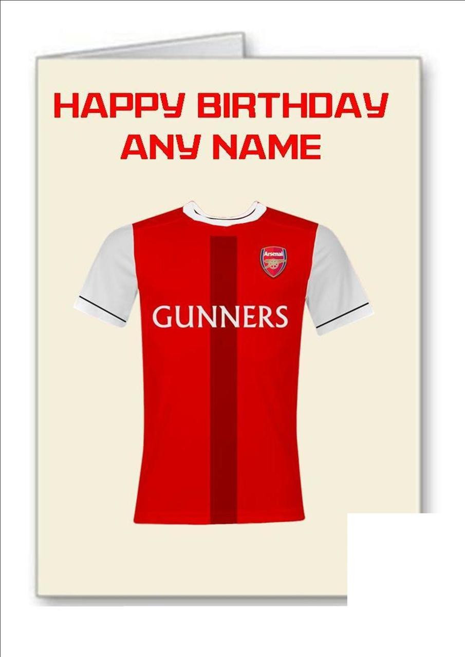 check out 722e7 08b00 ARSENAL FC Gunners Personalised Greeting Card - A5 Ivory Greeting Card &  Envelope