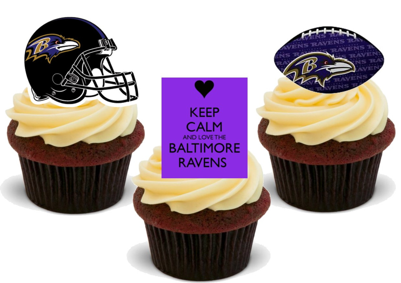 Fine American Football Baltimore Ravens Trio Mix 12 Edible Stand Up Birthday Cards Printable Opercafe Filternl