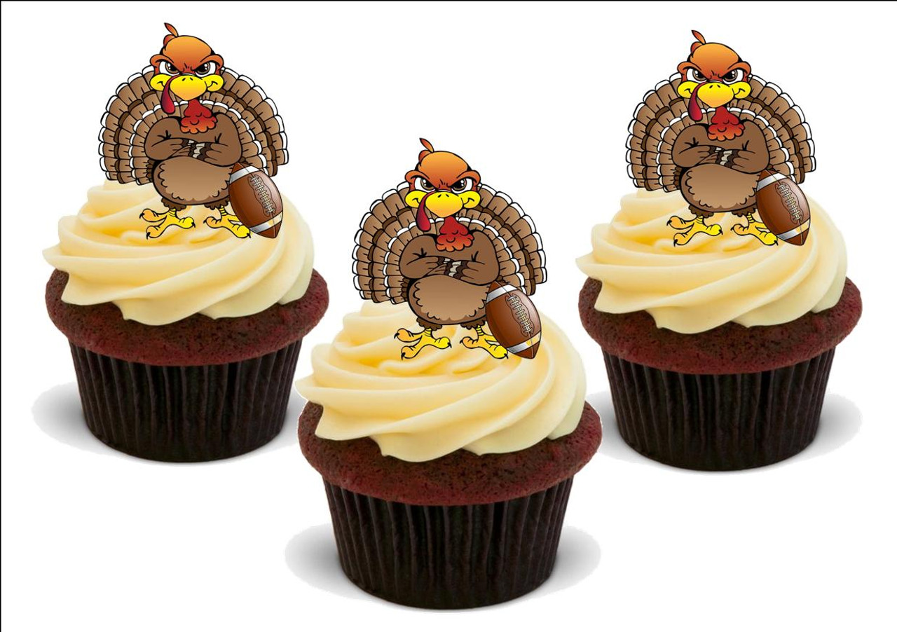 Happy Thanksgiving Football Turkey 12 Edible Stand Up Premium Wafer Card Cake Toppers Decorations
