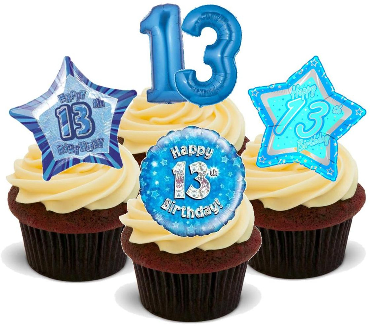 Groovy 13Th Birthday Boy Blue Mix 12 Edible Stand Up Premium Wafer Card Personalised Birthday Cards Paralily Jamesorg