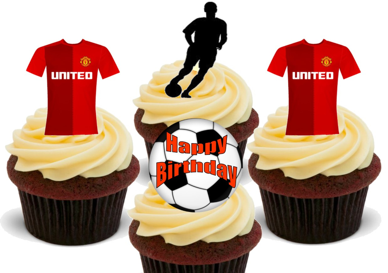 Admirable Manchester United Football Mix New Happy Birthday 12 Edible Stand Birthday Cards Printable Nowaargucafe Filternl