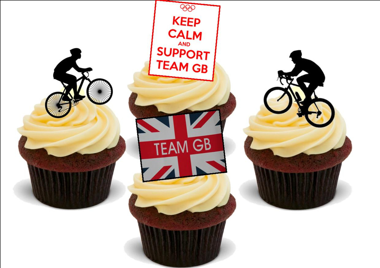 Cycling Silhouettes Cake Topper A4 Edible Printed Icing Sheet