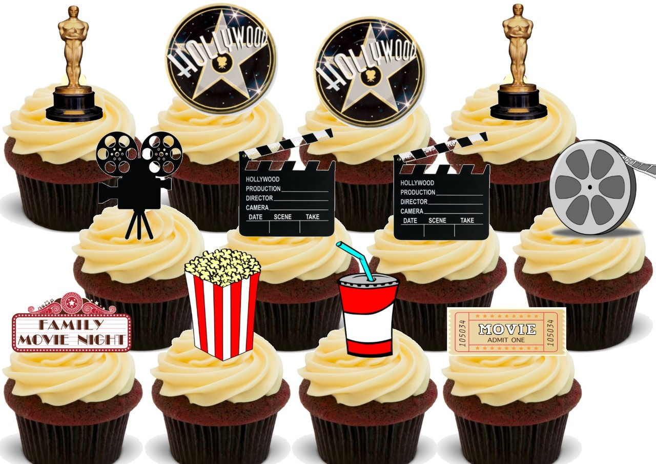 Novelty Movie Night Mix 12 Edible Stand Up wafer paper cake toppers birthday