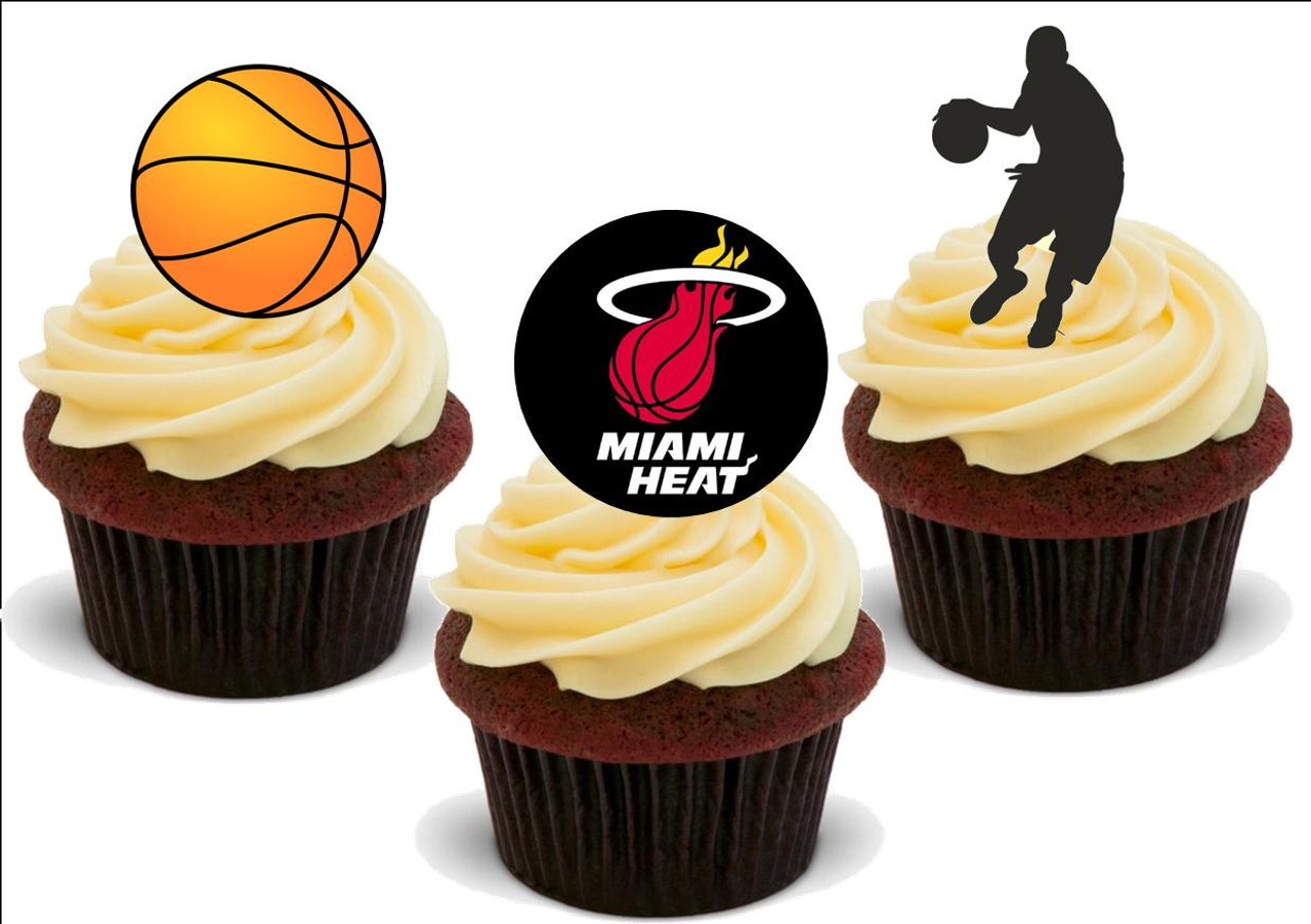 Basketball Miami Heat Mix - 12 Edible Stand Up Premium Wafer Card Cake  Toppers Decorations