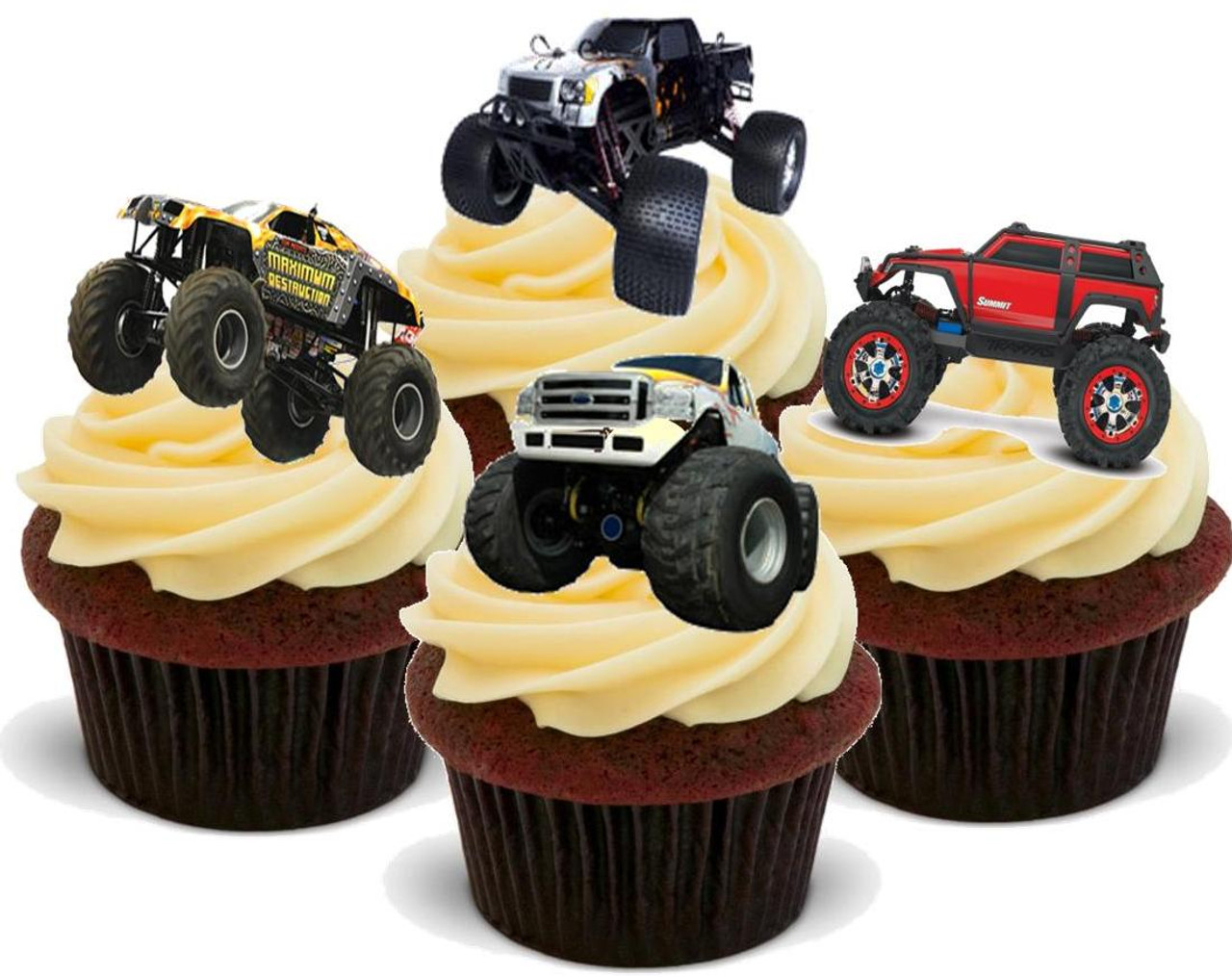 Monster Truck Mix 12 Edible Stand Up Premium Wafer Card Cake Toppers Decorations Just Party Supplies
