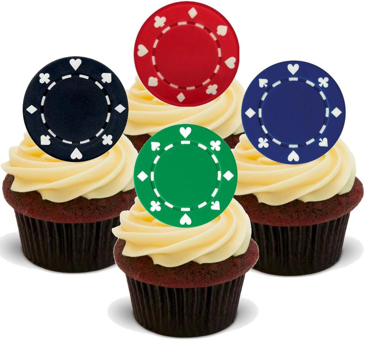 Personalised Edible Poker Cake Topper Icing or Wafer Paper