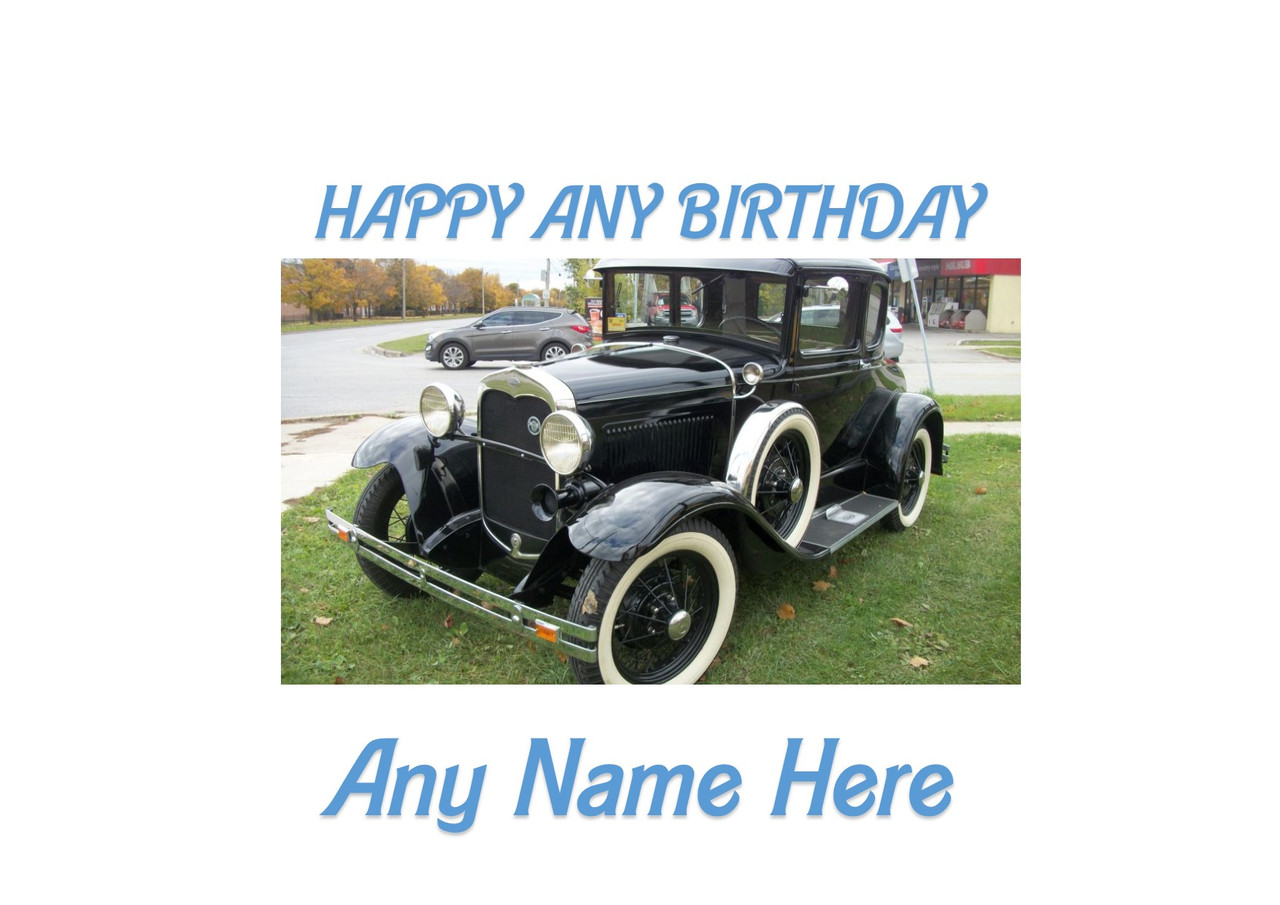 Personalised Vintage Classic Sports Car Edible Icing Birthday Party Cake Topper