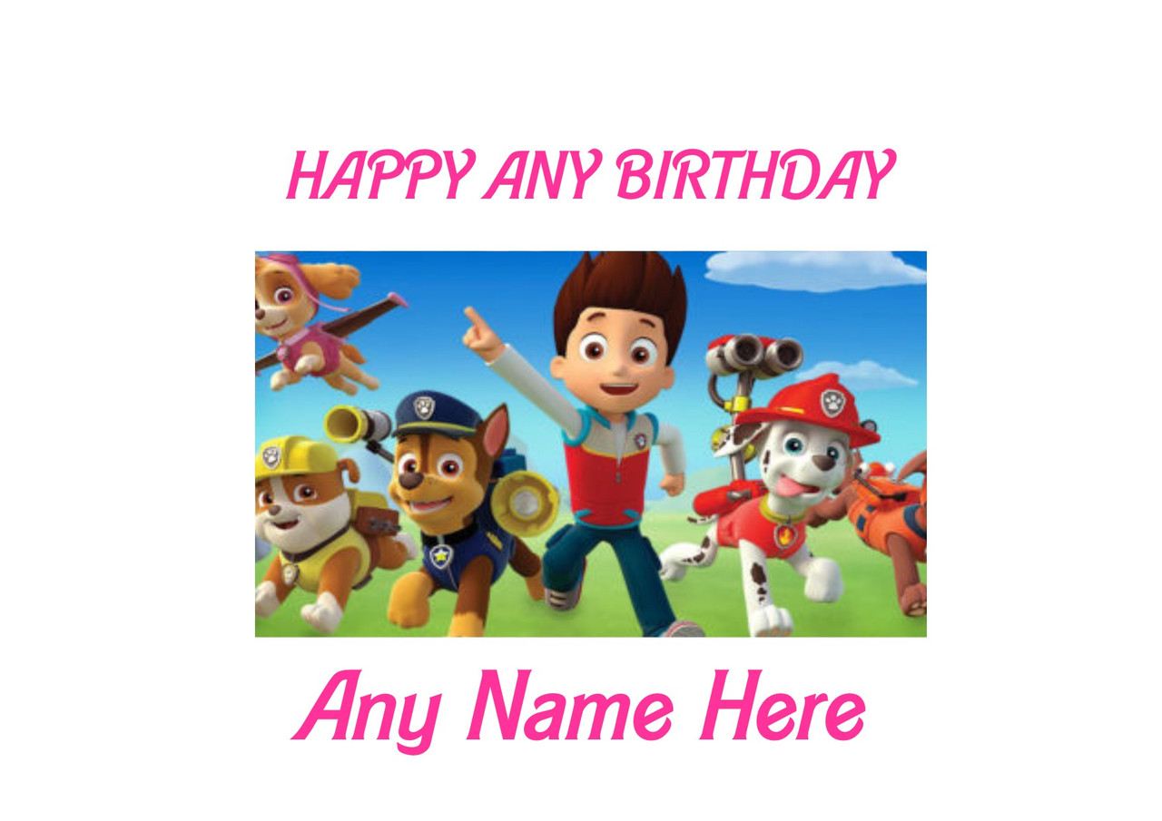 "7.5/"" PERSONALISED ROUND EDIBLE ICING CAKE TOPPER PAW PATROL FUN TEAM PARTY"