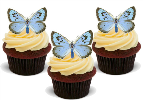 PASTEL BLUE BUTTERFLY 12 Standup Premium Wafer Cake Toppers