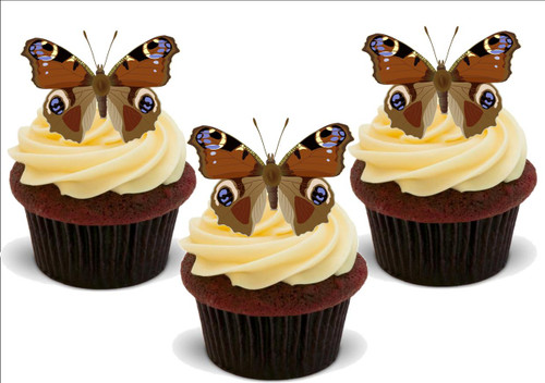 BLUE BROWN PATTERNED BUTTERFLIES 12 Standup Premium Wafer Cake Toppers
