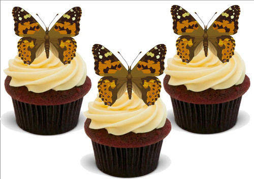 BROWN PATTERNED BUTTERFLIES 12 Standup Premium Wafer Cake Toppers