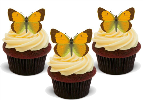 ORANGE BUTTERFLY 12 Standup Premium Wafer Cake Toppers
