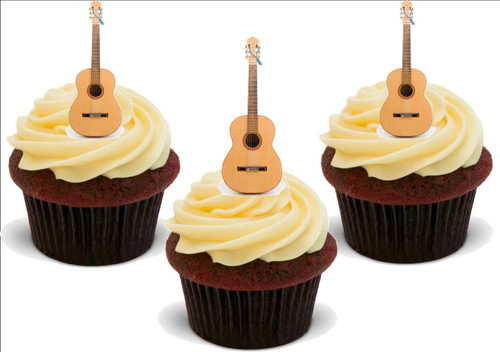 ACCOUSTIC GUITAR 12 Standup Premium Wafer Cake Toppers