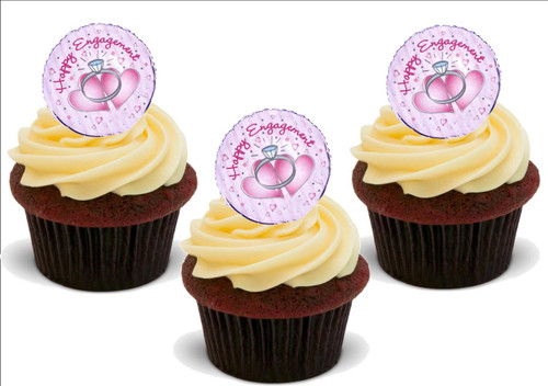 HAPPY ENGAGEMENT Pink with Rings Standup Premium Wafer Cake Toppers