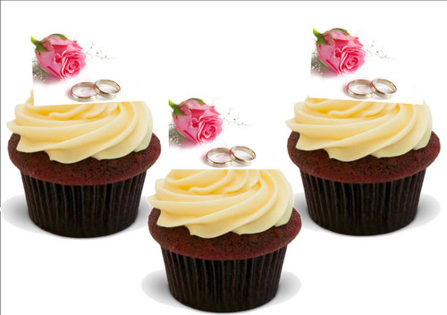 HAPPY ENGAGEMENT WEDDING MARRIAGE Pink Rose Rings Standup Premium Wafer Cake Toppers