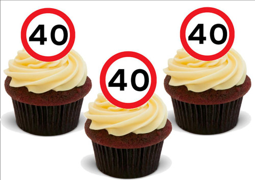 40 Forty 40TH BIRTHDAY Standup Premium Wafer Cake Toppers