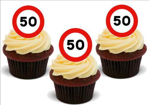 50 FiFTY 50th BIRTHDAY Standup Premium Wafer Cake Toppers