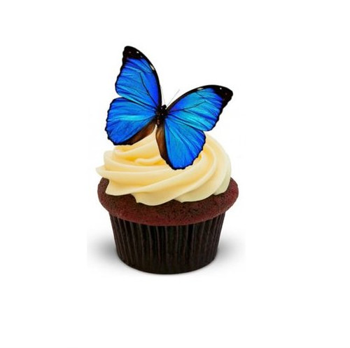 BLUE BUTTERFLY 12 Standup Premium Wafer Cake Toppers