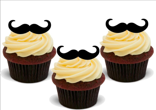 MOVEMBER MOUSTACHE 12 Standup Premium Wafer Cake Toppers