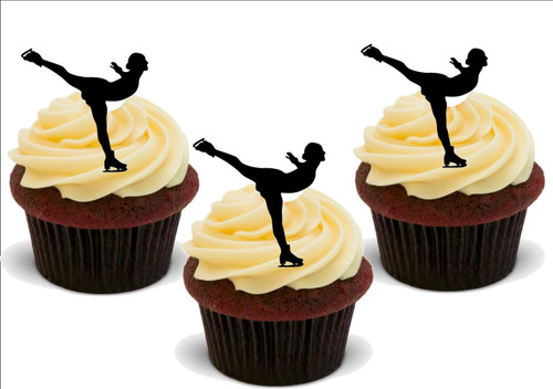 ICE SKATER Silhouette 12 Standup Premium Wafer Cake Toppers