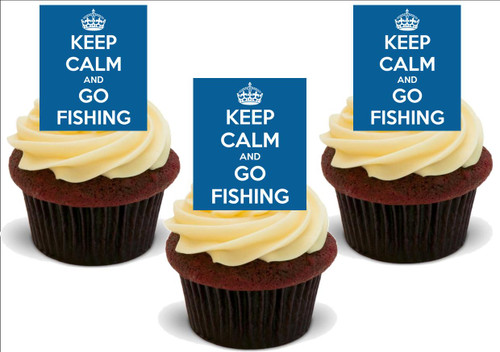 Blue KEEP CALM & GO FISHING 12 Standup Premium Wafer Cake Toppers