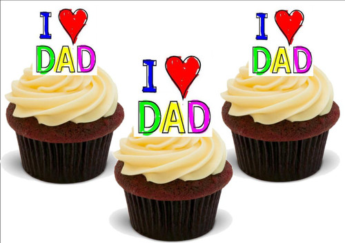 Father's Day I LOVE DAD 12 Standup Premium Wafer Cake Toppers