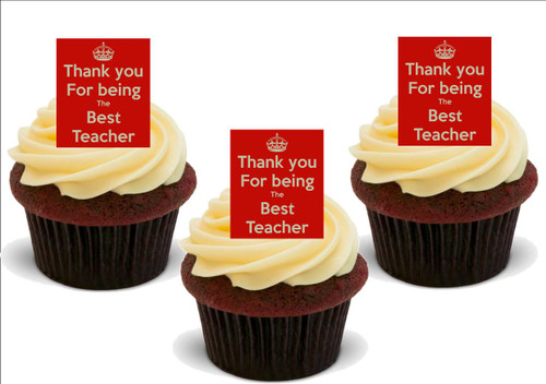 THANK YOU BEST TEACHER 12 Edible Standup Premium Wafer Cake Toppers