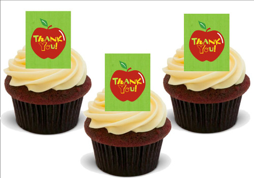 THANK YOU TEACHER Apple 12 Edible Standup Premium Wafer Cake Toppers