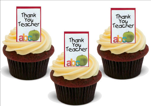 THANK YOU TEACHER ABC Apple 12 Edible Standup Premium Wafer Cake Toppers
