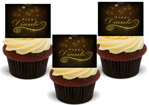 HAPPY DIWALI Classic Design Edible Standup Premium Wafer Cake Toppers