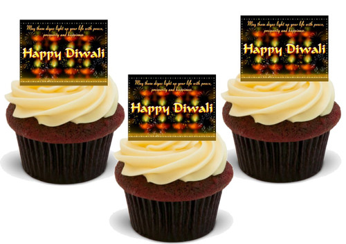 HAPPY DIWALI FIREWORKS Celebration Edible Standup Premium Wafer Cake Toppers