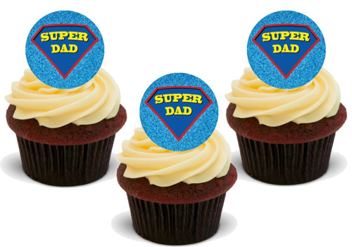 SUPER DAD SUPERMAN FATHERS DAY Edible Standup Premium Wafer Cake Toppers