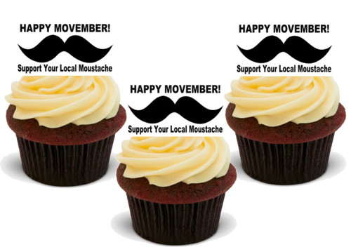 HAPPY NOVEMBER MOUSTACHE 12 Edible Standup Premium Wafer Cake Toppers