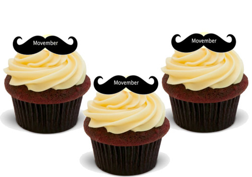 NOVEMBER MOUSTACHE 12 Edible Standup Premium Wafer Cake Toppers